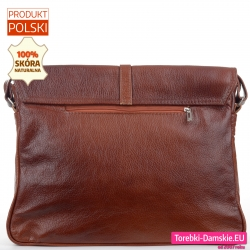 Pojemna miejska torba w kolorze brązowym z kieszenią z tyłu