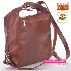 Plecak damski skórzany w kolorze brązowym