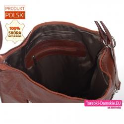 Plecako - torba brązowa ze skóry kieszeń wewnątrz zamykana