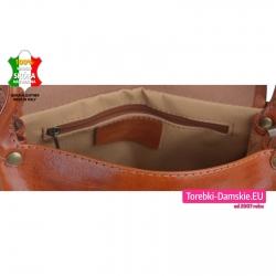 Włoska torebka damska średniej wielkości przegrodą wewnątrz dwukomorowa