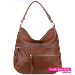 Duży brązowy elegancki worek - torba na ramię z kieszeniami z przodu