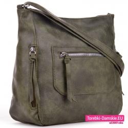 Zielona torebka crossbody z kieszeniami zewnętrznymi zamykanymi