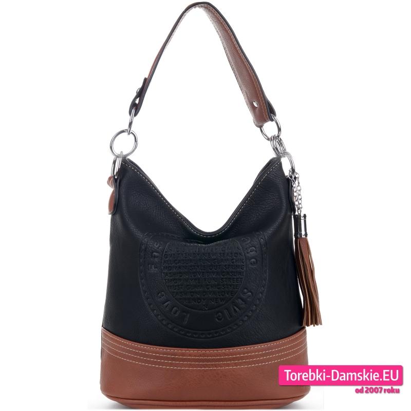 Czarna torebka z pieczątką z elementami brązowymi