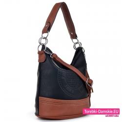 Czarno-brązowa torebka worek na ramię i do przewieszenia z pieczątką