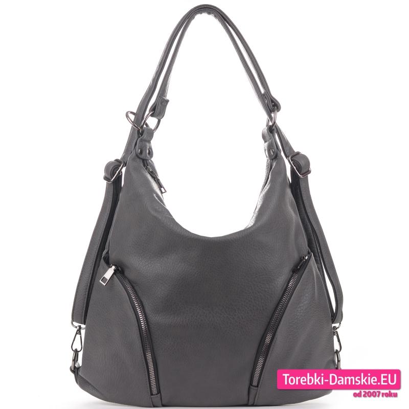 Szary torbo - plecak z miękkiej skóry eko odcień grafit