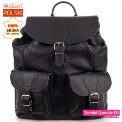 Duży czarny skórzany plecak damski