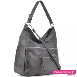 Szara torebka worek na ramię albo do przewieszenia ze srebrnymi suwakami