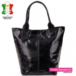 Włoska torba shopperbag z czarnej skóry naturalnej