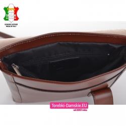 Brązowa włoska torebka damska z przegrodą wewnątrz model średniej wielkości