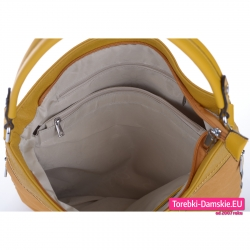 Żółta torebka z przegrodą wewnętrzną