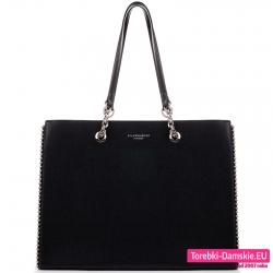 Duża torba A4 czarna teczka z łańcuszkami i perłami ozdobnymi