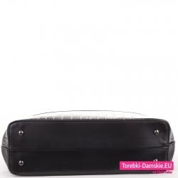 Duża torba w kolorze czarnym usztywniony spód z metalowymi stopkami