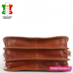 Trzykomorowa torebka ze skóry naturalnej kolor koniakowy