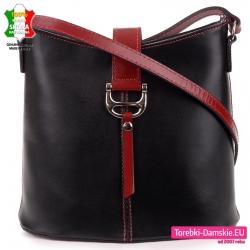Czarno - bordowa stylowa torebka skórzana
