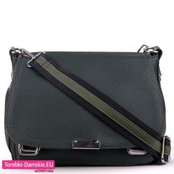 Zielona torebka z klapą - modna listonoszka na szerokim pasku