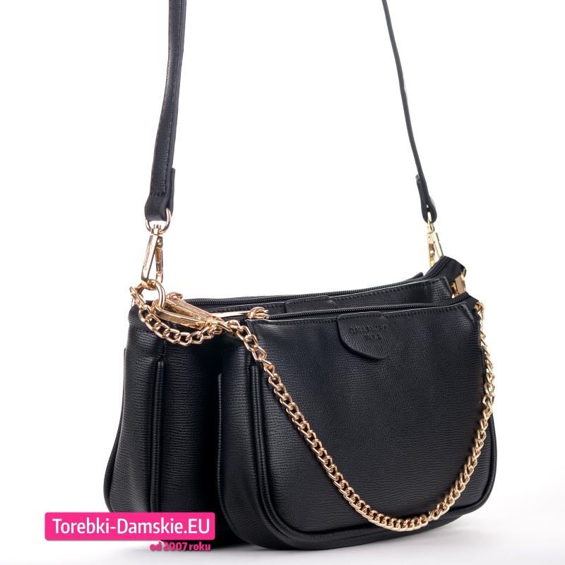 Dwie spięte ze sobą czarne torebki crossbody mniejsza i większa