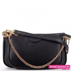 Dwie czarne torebki listonoszki w zestawie ze złotym łańcuszkiem