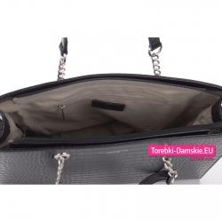 Stylowa torba damska A4 w kolorze czarnym - teczka z łańcuszkami zamykana na zamek