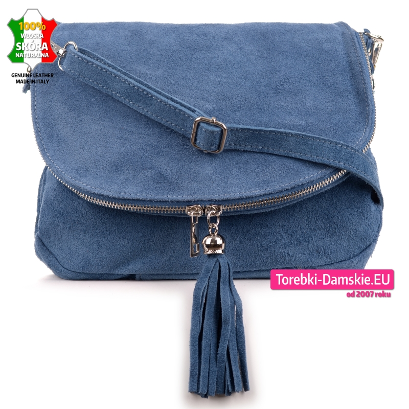 Niebieska torebka listonoszka skórzana z klapą