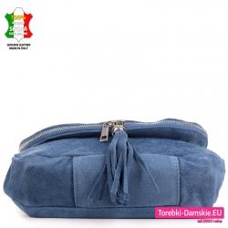 Niebieska torebka listonoszka ze skóry z chwostem