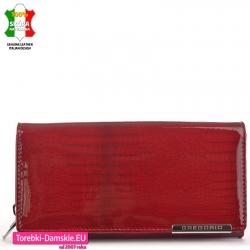 Czerwony duży portfel damski lakierowany skóra krokodyla