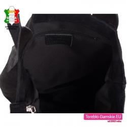 Zamszowy shopper w kolorze czarnym zamykany zamkiem błyskawicznym