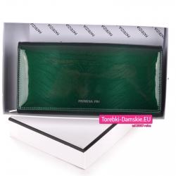 Zielony duży damski portfel lakierowany w pudełku