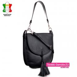 Skórzana torba z odpinanymi dwoma paskami na ramię albo do przewieszenia i frędzlami przy klapie