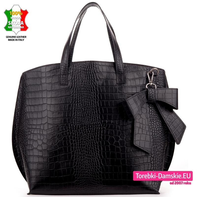 Duża torba skórzana krokodyl - pojemny shopperbag