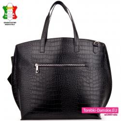 Skórzana czarna torba shopperbag krokodyl z kieszenią z tyłu