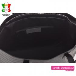 Zamykana suwakiem duża czarna skórzana torba shopperbag A4