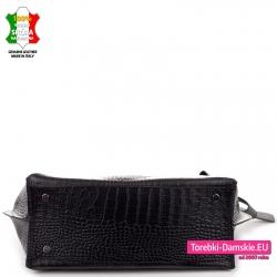 Czarna torba z naturalnej skóry duża ze stopkami do stawiania