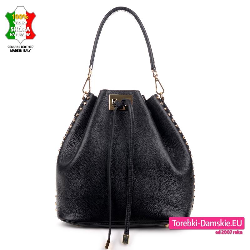 Skórzany czarny worek - włoska pojemna torba damska na ramię