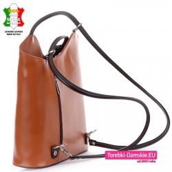 Plecako - torebka skórzana damska w jasnym odcieniu brązu z ciemnobrązowymi elementami