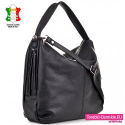 Duża włoska czarna skórzana torba na ramię i do przeweiszenia