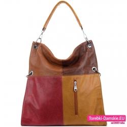 Brązowo - czerwona duża torba na ramię na jesień