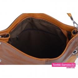 Duża tania torba w odcieniach brązów z przegrodą w środku