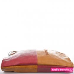 Miejska torba 4-kolorowa odcienie brązu plus czerwony