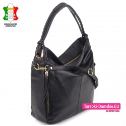 Pojemny worek z luksusowej skóry - czarna torba miejska na ramię i do przewieszenia