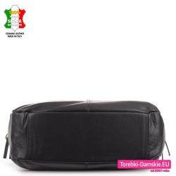 Czarna miejska torba ze skóry naturalnej produkcji włoskiej - duży model ze sztywnym dnem