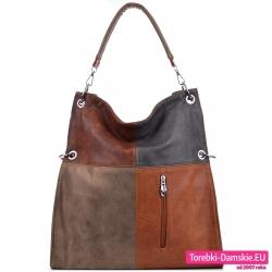 Brązowo - beżowo - szara torba damska z kolekcji jesiennej