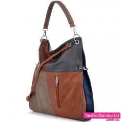 Czterokolorowa torba w odcieniach brązu, beżu i szarego na ramię lub do przewieszenia