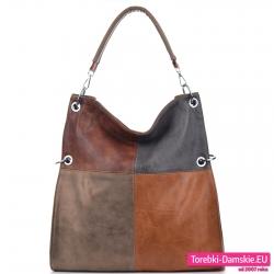 Pojemna i modna torba w kolorowe prostokąty