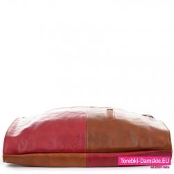 Czterokolorowa brązowo - czerwona torba z miękkiej skóry ekologicznej