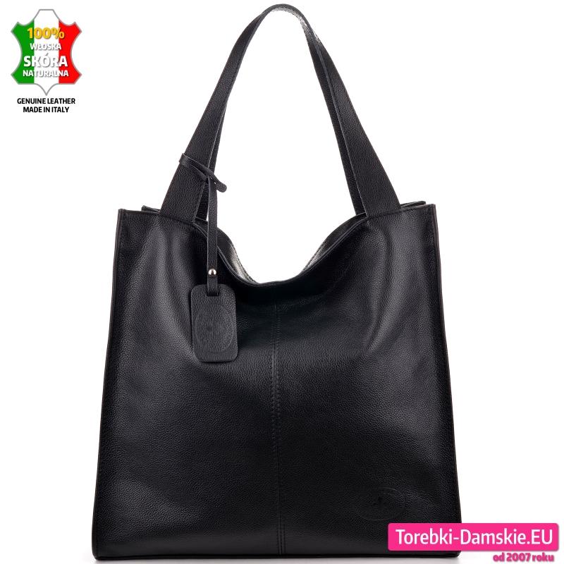 Czarny modny nowoczesny shopper duża miejska torba na ramię