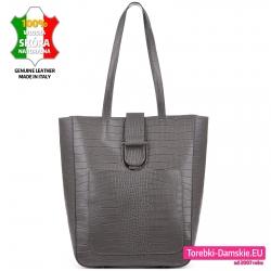 Skórzana duża torba na ramię shopper - krokodyl