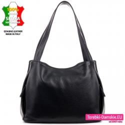 Trójkomorowa torba damska ze skóry w kolorze czarnym na ramię