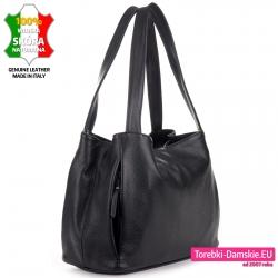 Włoska torebka na ramię w kolorze czarnym - pojemny model trójkomorowy