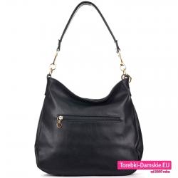 Modna torebka na ramię z kieszenią z tyłu - czarny worek w modnym fasonie