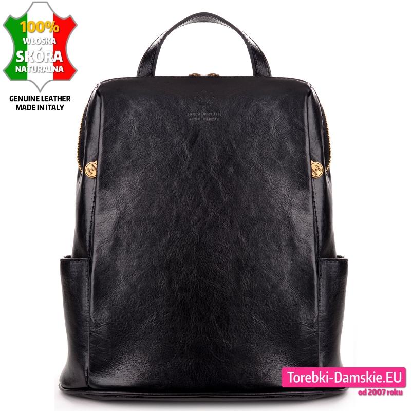 Włoski plecak damski z czarnej naturalnej skóry z kieszeniami zewnętrznymi